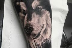 realismo-negro-y-gris-annie-blesock-antebrazo-perro-husky-alaska-malamute