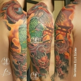 inferno-tattoo-barcelona-samurai-dragon-color-brazo-hombro-christian-kurt