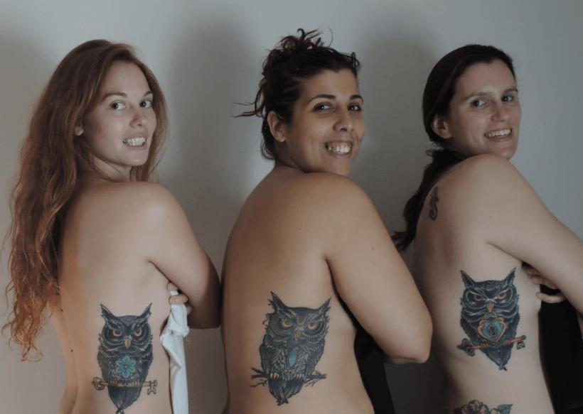 Opiniones sobre tatuajes. Tres búhos diferentes para 3 amigas