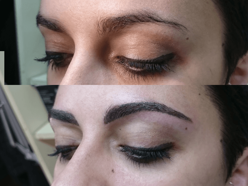 Micropigmentación cejas, antes y después.