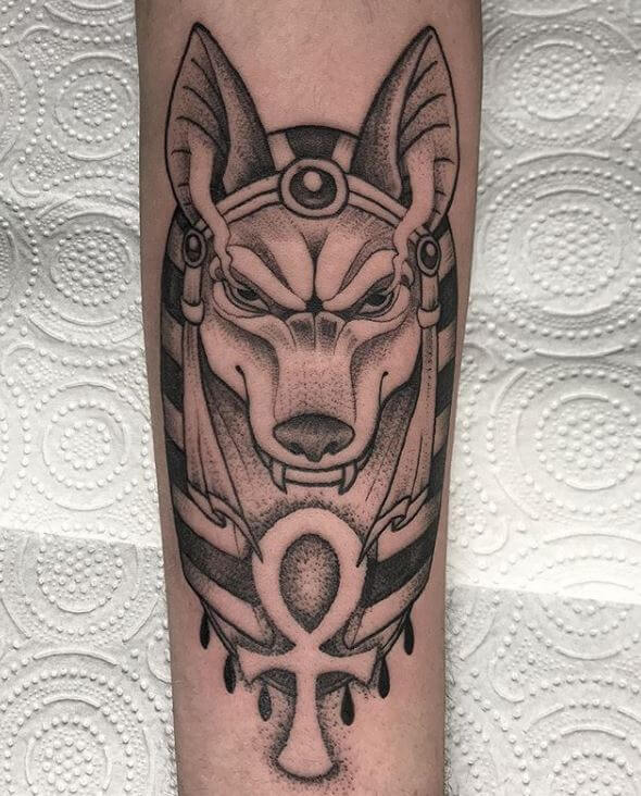Neotradi y dotwork, Álex Baens. Tatuaje grande en pierna de lobo faraón.