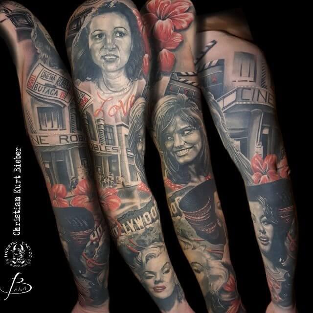 Christian Kurt Bieber. Tatuaje grande en brazo homenaje a divas de hollywood.