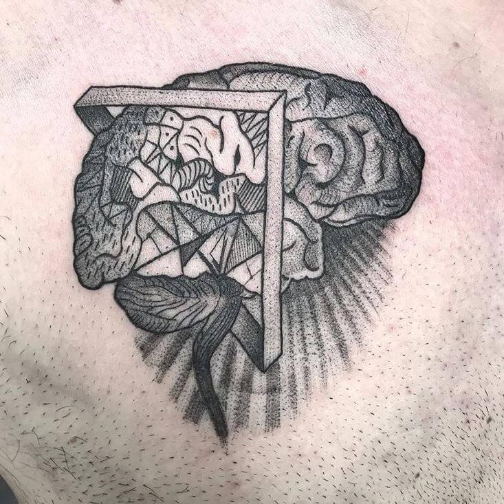 Dotwork y blackwork, Álex Baens. Tatuaje mediano en pierna de cerebro