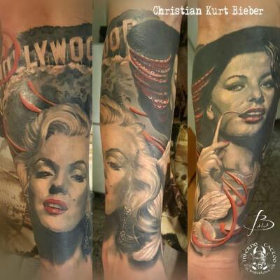 Realismo negro y gris, Christian Kurt Bieber. Tatuaje grande en brazo de Marilyn Monroe.
