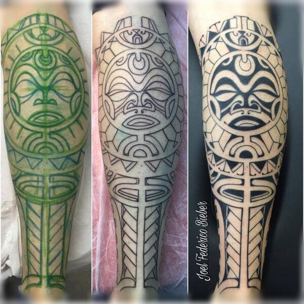 Maorí y polinesio, Joel Federico Bieber. Tatuaje grande en brazo.