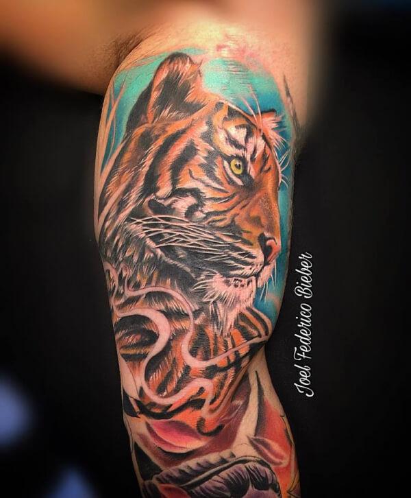 Realismo color, Joel Federico Bieber. Tatuaje grande en brazo de tigre, cover.