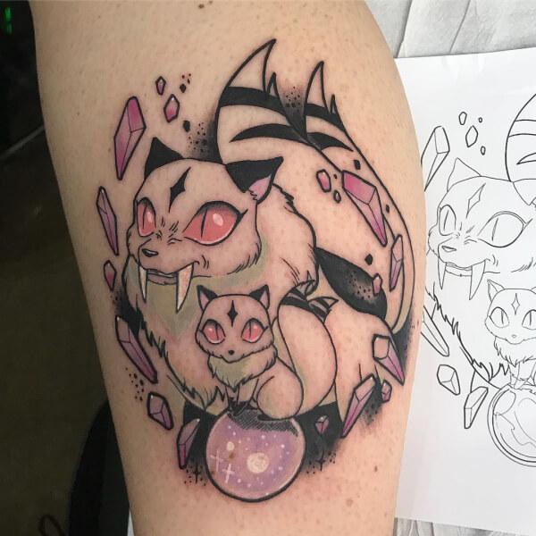 Ilustración y neotradi, Álex Baens. Tatuaje mediano en pierna de anime.