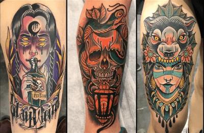 Inferno Tattoo Barcelona. Neotradi, Raúl Leone. Tatuaje grande en pierna, piezas de convenciones.