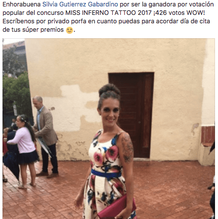 silvia-recibe-comunicacion-premio-miss-inferno-tattoo-barcelona