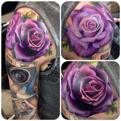 Tatuaje de rosa lila. Fuente Pinterest