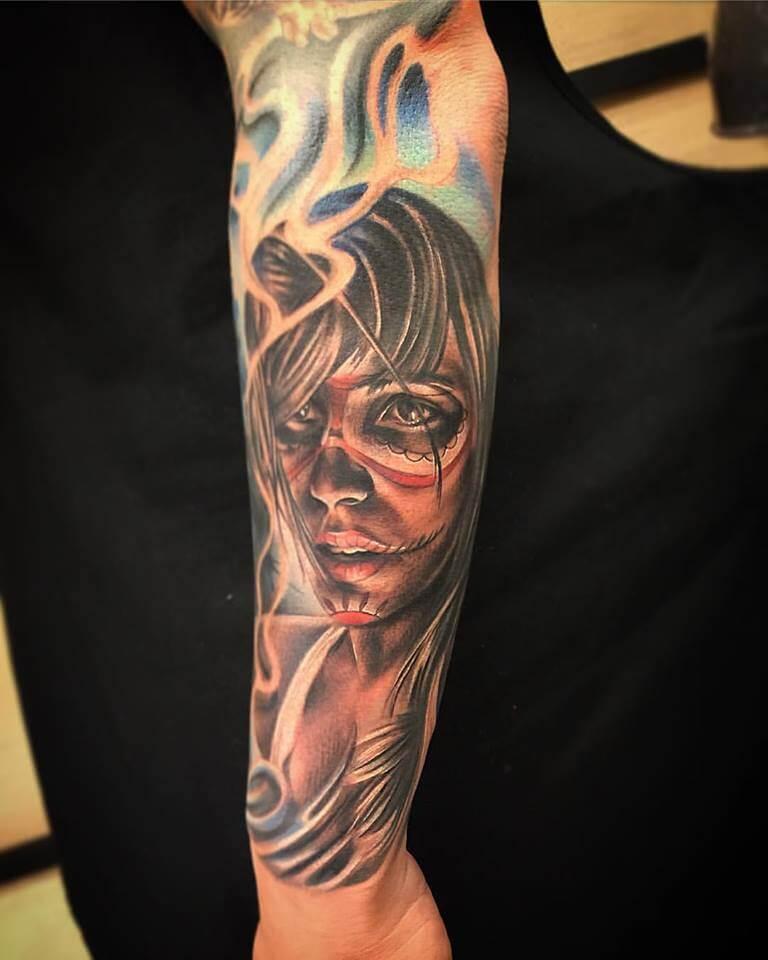 Tatuaje de Catrina. Joel Federico Bieber.
