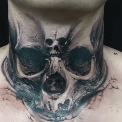 Tatuajes de calavera en cuello. Dark. Pinterest