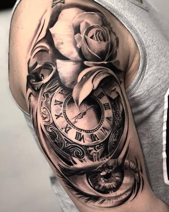 Tatuajes-de-reloj-con-rosas