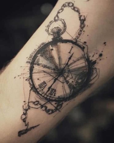 original-tattoo-reloj-detalles-acuarela-carboncillo-boceto