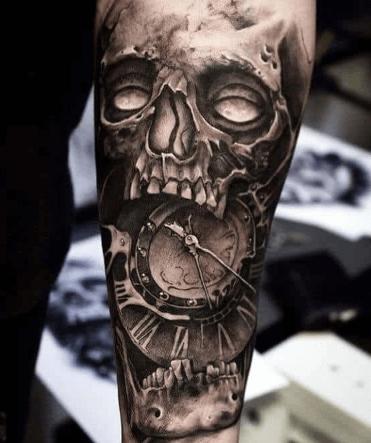 tattoo-calavera-con-reloj