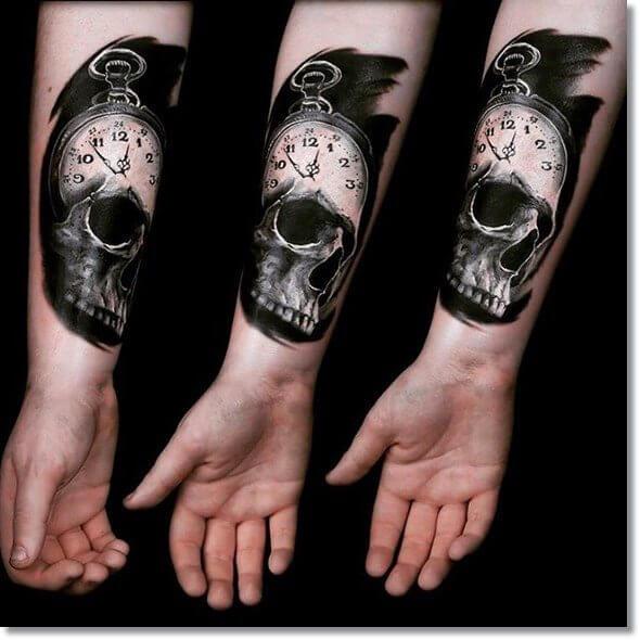tattoo-calavera-reloj