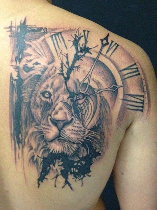 tattoo-leon-con-reloj