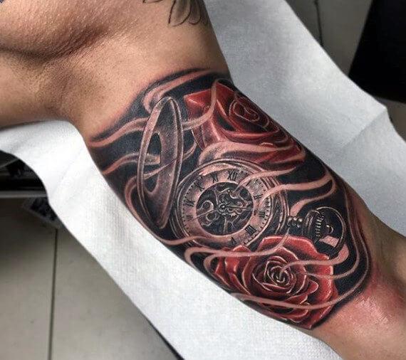 tattoo-reloj-efecto-humo-realismo-rosas