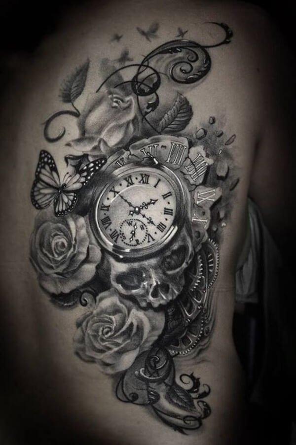 tatuaje-flores-mariposas-reloj