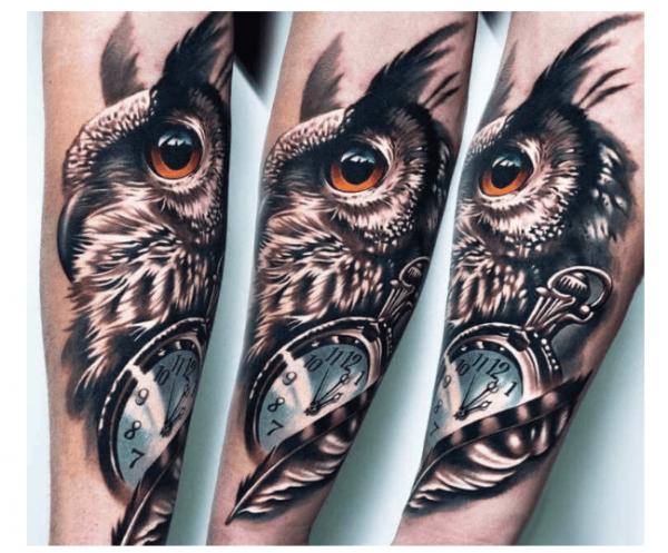 tatuaje-reloj-con-lechuza