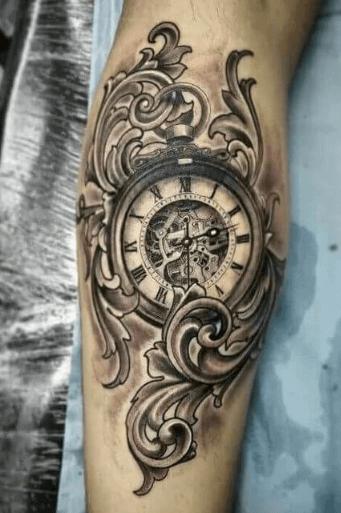 tatuaje-reloj-fileteado-clasico-realismo-negro-gris