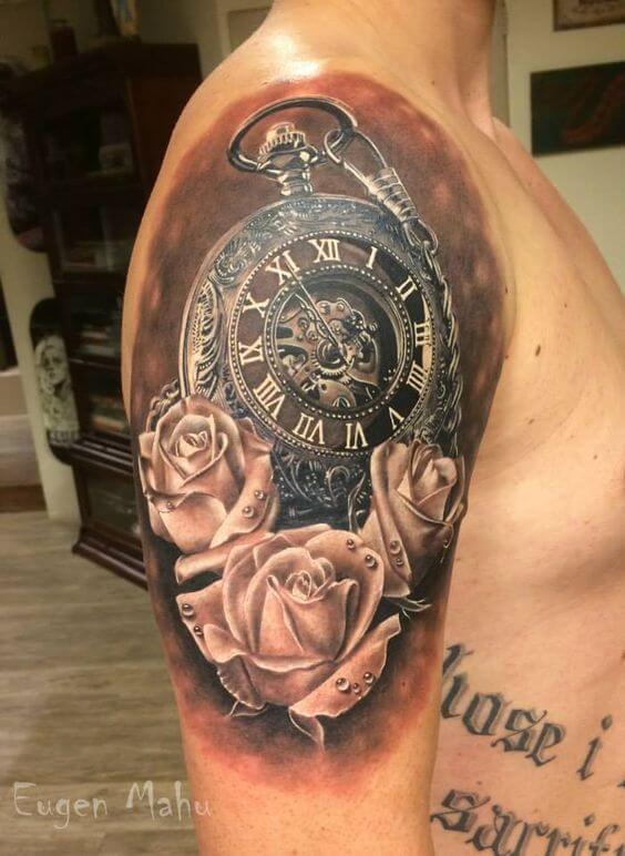 Fuente Pinterest. Tattoo con reloj y flores