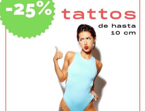 ¡Promo tatuera de verano! 25% de descuento en tatuajes negro y gris