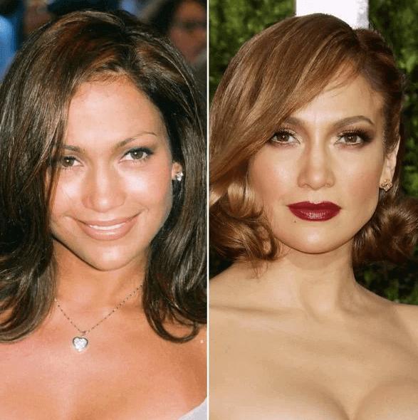 Cejas de Jennifer López, antes y después de la micropigmentación, fuente Pinterest.