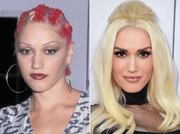 Gwen Stefany antes y después de la micropigmentación de cejas