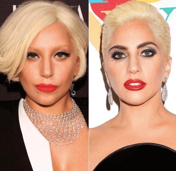 Lady Gaga antes y después de la micropigmentación de cejas. Fuente Pinterest.