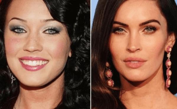 Cejas de Megan Fox, antes y después de la micropigmentación, fuente Pinterest.