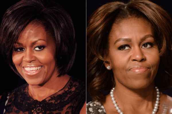 Cejas de Michelle Obama, antes y después de la micropigmentación, fuente Pinterest.