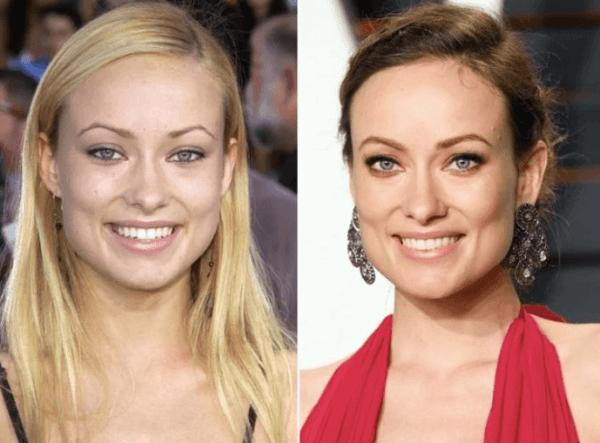 Cejas de Olivia Wilde, antes y después de la micropigmentación, fuente Pinterest.
