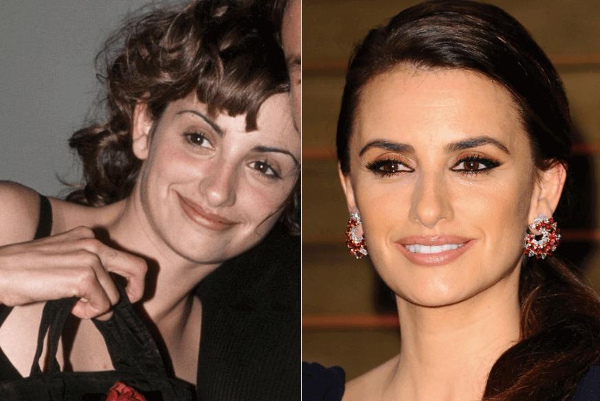 Cejas de Penélope Cruz, antes y después de la micropigmentación, fuente Pinterest.