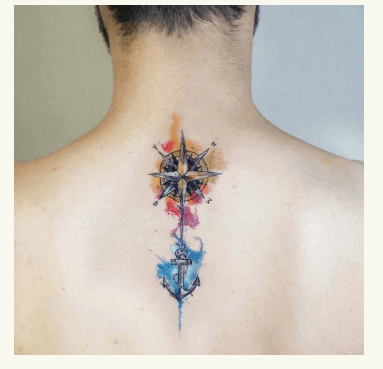 Rosa de los vientos y tatuaje de ancla estilo acuarela