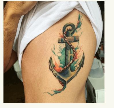 Estilo de acuarela con tattoo de ancla